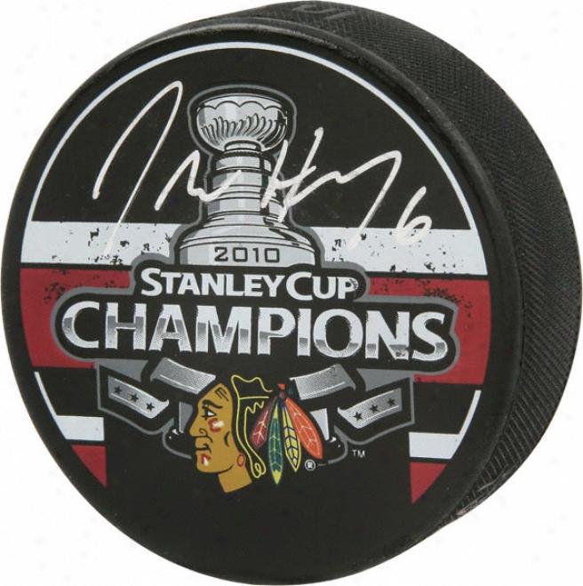 Jordan Hendry Chicago Blackhawks Autographed 2010 Stanley Cup Champions Logo Puck