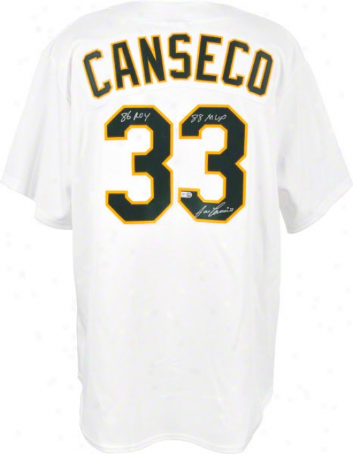 Jose Canseco Autographed Jersey  Details: Replica, Oakland Athletics, Roy/mvp Inscription