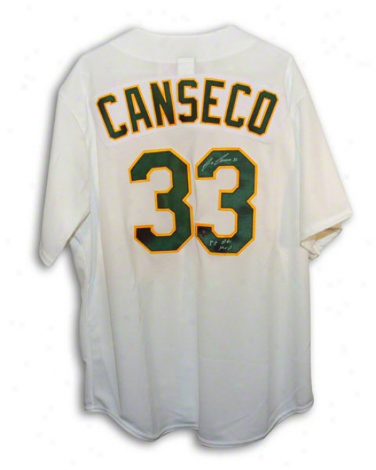 Jose Canseco Autographed Oakland Athletics White Majestic Jersey Inscribed &quot88 Al Mvp&qut