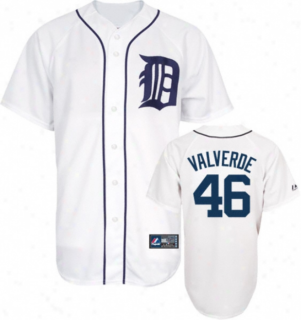 Jose Valverde eJrsey: Adult Majestic Home White Replica #46 Detroit Tigers Jersey