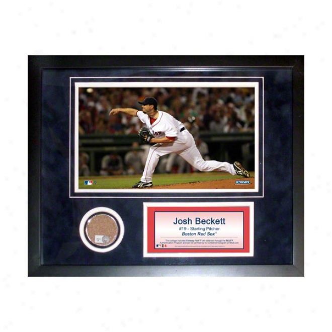 Josh Beckett Boston Red Sox 11x14 Framed Collage With Game UsedD irt, Photo & Nameplate