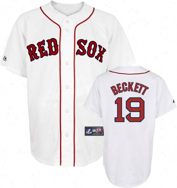 Josh Beckett Jersey: Adult Majestic Home White Replica #19 Bosotn Red Sox Jersey