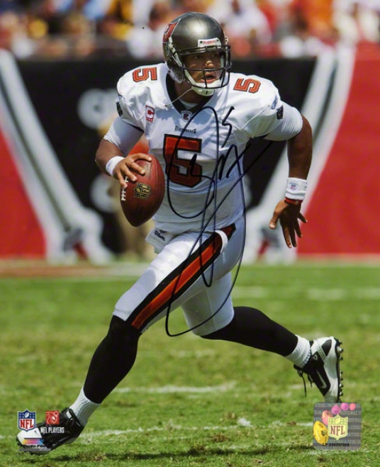 Josh Freeman Autographed 8x10 Photograph  Details: Tampa Bay Buccaneers, White Jersey, Running