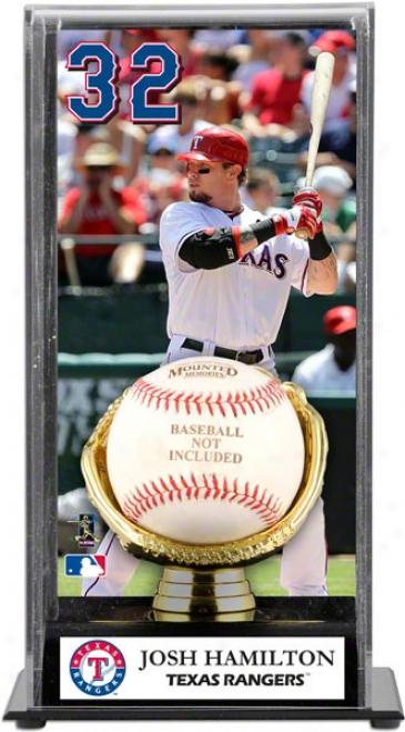 Josh Hamilton Gold Glove Baseball Display Casr  Details: Texas Rangers