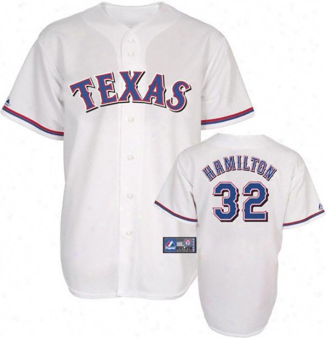 Josh Hamilton Jersey: Adult Majestic Home White Replica #32 Texas Ranvers Jersey