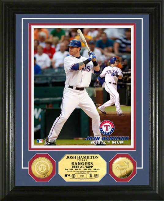 Josh Hamilto Photo Mint: Texas Rangers 2010 A.l Mvp 24k Gold Coin Photo Mint