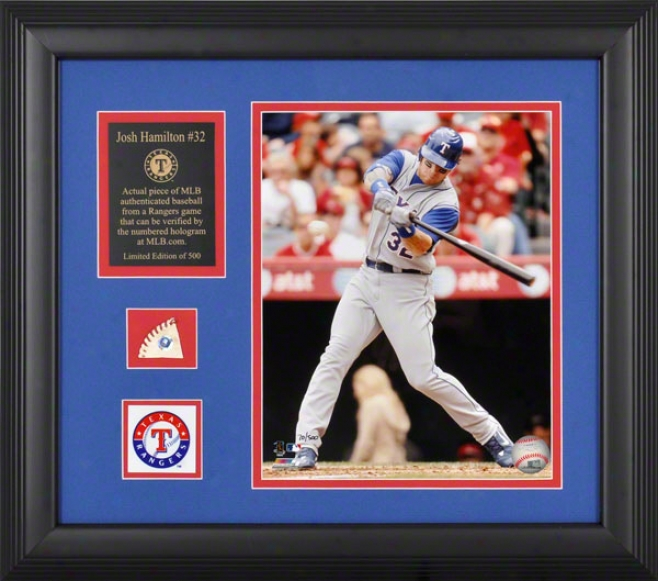 Josh Hamilton Texas Rangers Framed 8x10 Photograph Through  Game Used Baseball Piiece, Team Medallion And Descriptive Plate