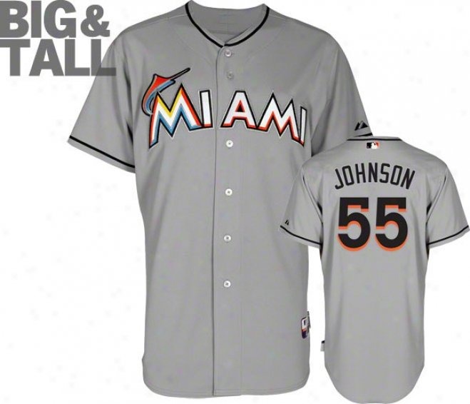 JoshJ ohnson Jersey: Big & Tall Miami Marlins #55 Road Grey Authentic Cool Baseã¢â�žâ¢ Jersey
