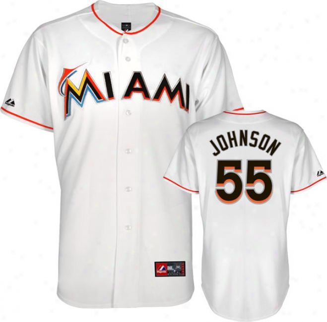 Josh Johnson Jersey: Miami Marlins #55 Home White Replica Jersey