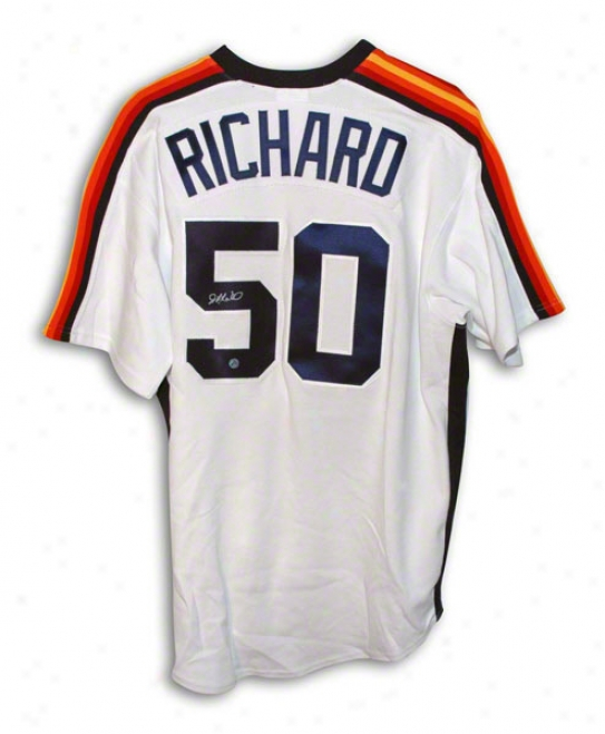 J.r. Richard Autographed Houston Astros White Majestic Jersey