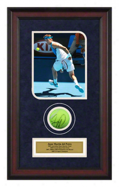 Juan Martin Del Potro 2009 Australian Open Framed Autographed Twnnos Missile  With Photo