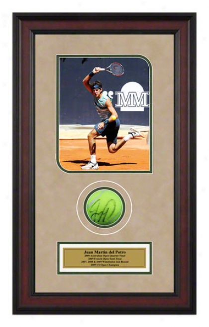 Juan Martin Del Potro 2009 Madrid Masters Framed Autographed Tennis Dance With Photo