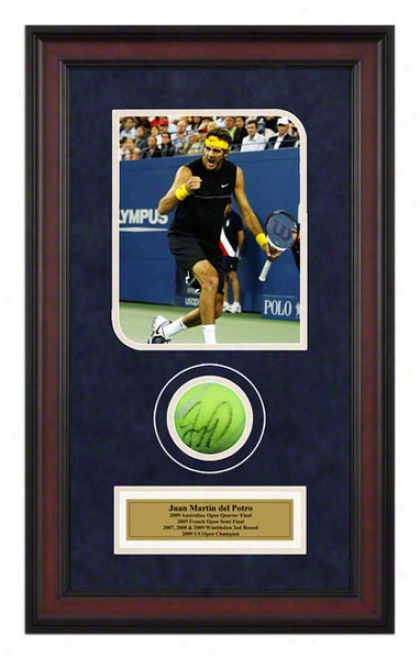 Juan Martin Del Potro 2009 Us Open Framed Ahtographed Tennis Ball With Photo