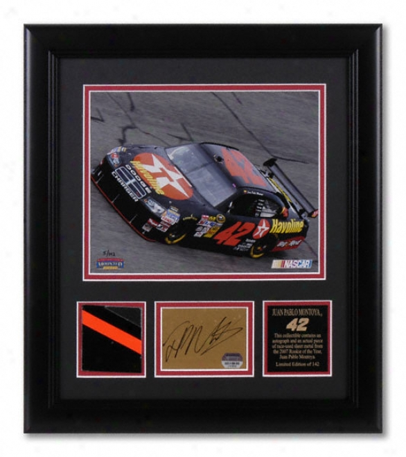 Juan Pablo Montoya - Laserchrome - Framed 8x10 Photograph With Autographed Card, Race Used Metal Piece And Plate