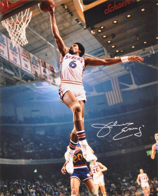 Julius Erving Autographed Photlgraph  Details: Philadelphia 76ers, Vs. aWrriors, 16x20