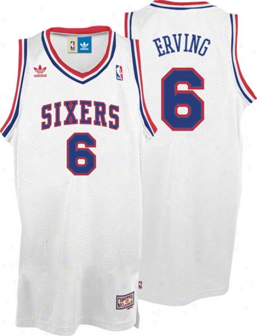 Julius Erving Jerqey: Adidas Pale Throwback Swingman #6 Philadelphia 76ers Jersey