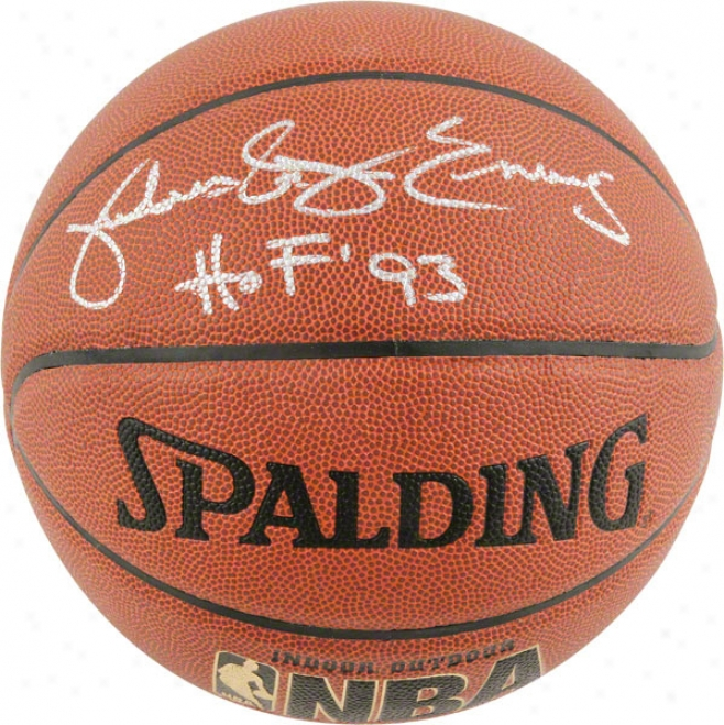 Julius Erving Philadelphia 76ers Autographed Indoor/outdoor Spalding Basketball W &quothof' 93&quot Inscription