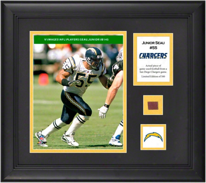 Junior Seau Framed 8x10 Photograph  Details: San Diego Chargers, With Game Used Football Gun And Descriptive Plate