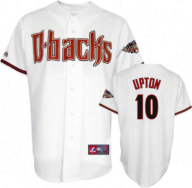 Justin Upton Jersey: Arizona Diamondbacks #10 Home White Replica Jersey With 2011 All-star Game Patch
