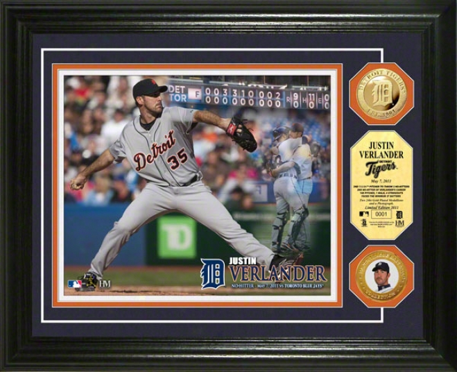 Justin Verlander Detroit Tigers &quotno Hitter&quot 24kt Gold Coin Photo Mint