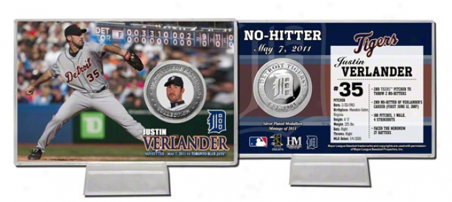 Justin Verlander Detroit Tigers &quotno Hitter&quot Silver Coin Card