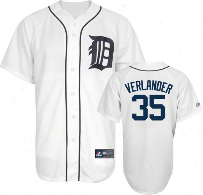 Justin Verlander Jersey: Adult Majestic Home White Replicaa #35 Detroit Tigers Jersey