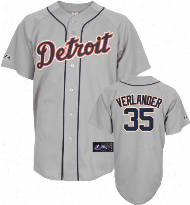 Justin Verlander Jersey: Adult Majestic Road Grey Autograph copy #35 Detroit Tigers Jresey