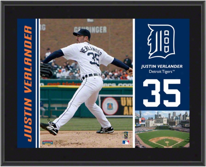 Justin Verlander Plaque  Details: Detroit Tigers, Sublimated, 10x13, Mlb Plaque