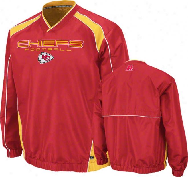 Kansas City Chiefs Coach's Choice Ii Red Lightweight Pullover Jacket