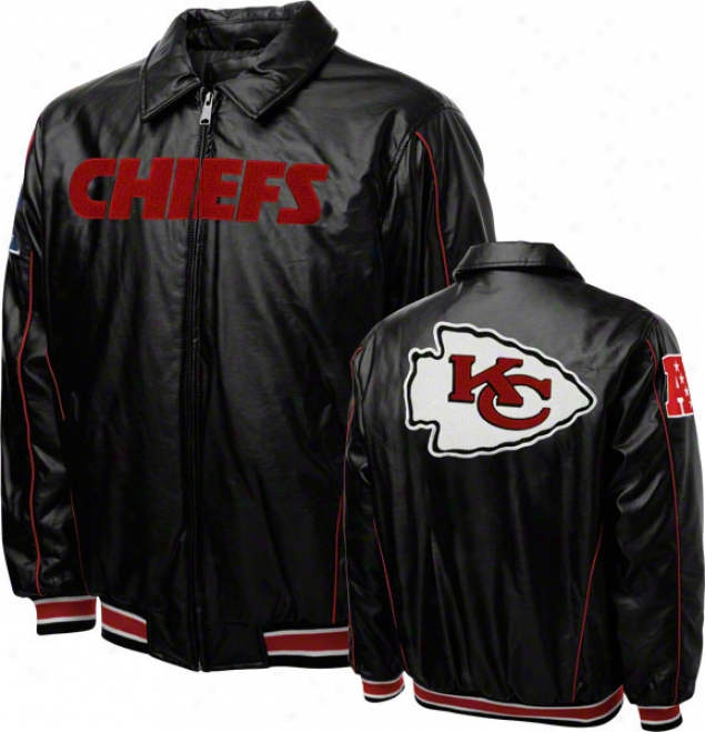 Kansas City Chiefs Faux Leather Fulll-zip Varsity Jacket