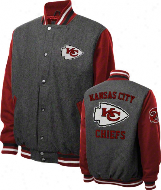 Kansas City Chiefs Grey Wool Varssity Javket