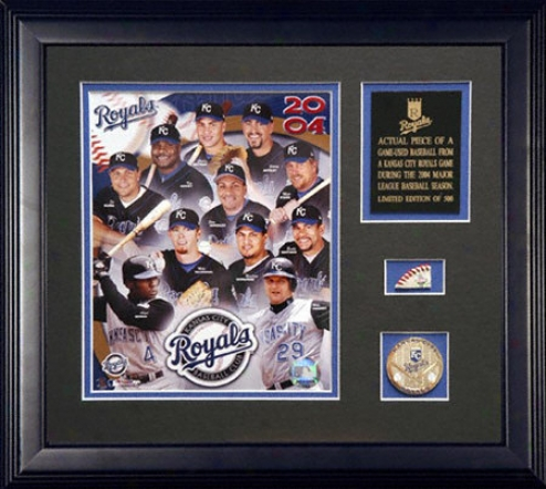 Kansas City Royals 2004 A Piece Of The Season Framed 8x10 Team Photograph With Game Used Baseball