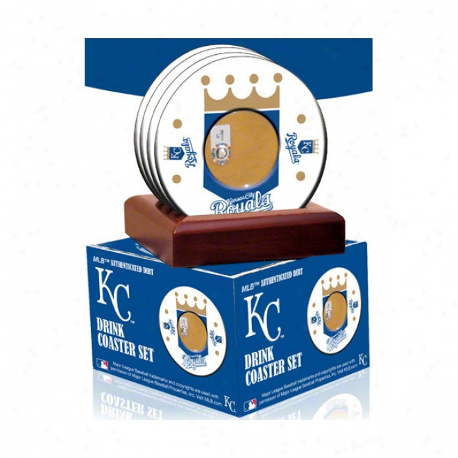 Kansas City Royals 4 Pack Coaster Set With Game Used Dirt