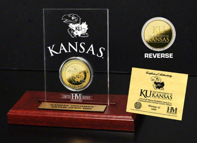 Kansas Jayhawkss 24kt Gold Coin In Etched Acrylic