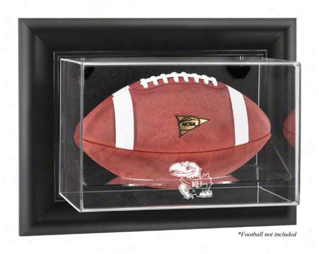 Kansas Jayhawks Framed Logo Wall Mountable Football Display Case
