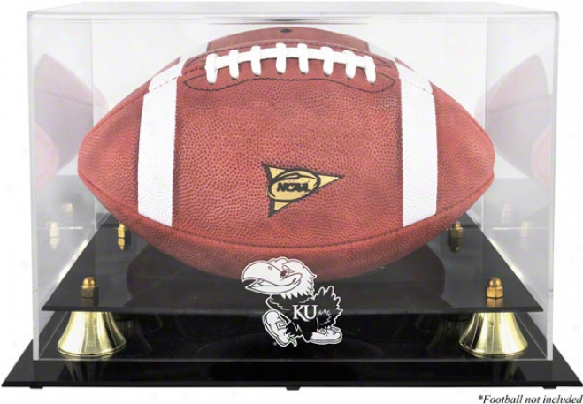 Kansas Jayhawks Golden Classic Football Logo Display Case With Mirror Back