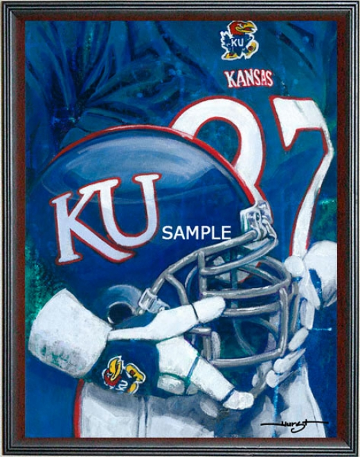 Kansas Jayhawks - &quotu Of K Helmet Series&quot - Large - Framed Giclee