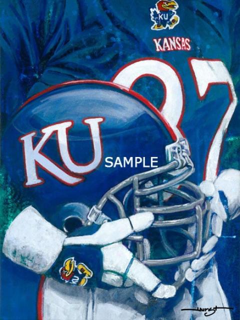Kansas Jayhawks - &quotu Of K Helmet Series&quot - Large - Unframed Giclee
