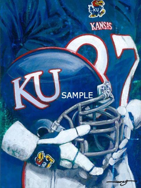 Kansas Jayhawks - &quotu Of K Helmet Series&quot - Oversized - Unframed Giclee