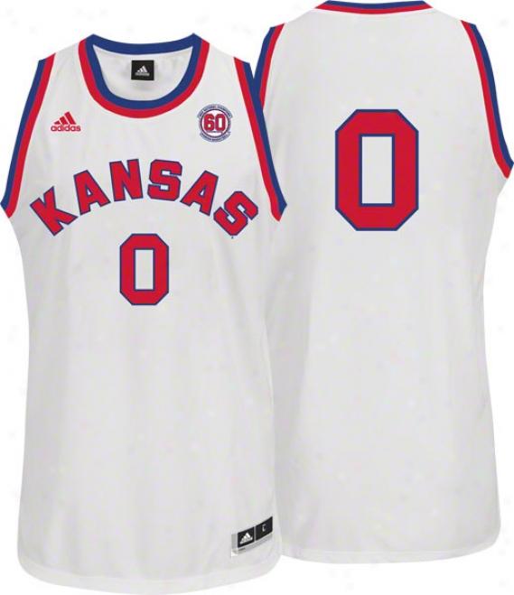 Kansas Jayhawks Replica Basketball Jersey: Adidas #00 White 1952 National Champions 60th Anniversary Jersey