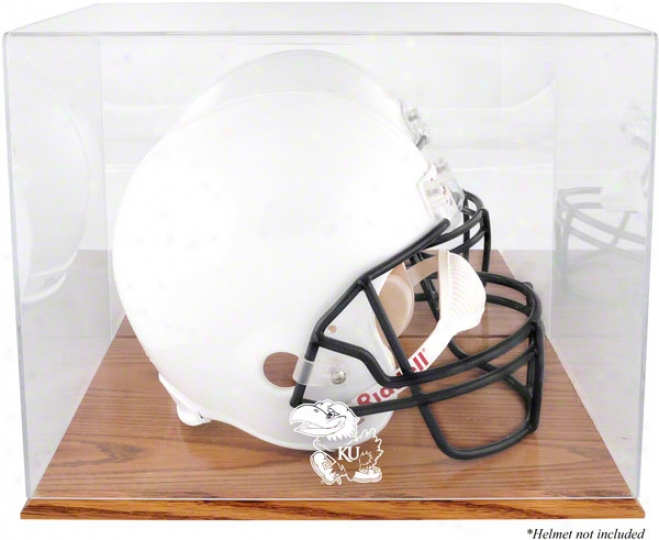 Kansas Jayhawks Team Logo Helmet Parade Case  Particulars: Oak Base, With Mirror Back