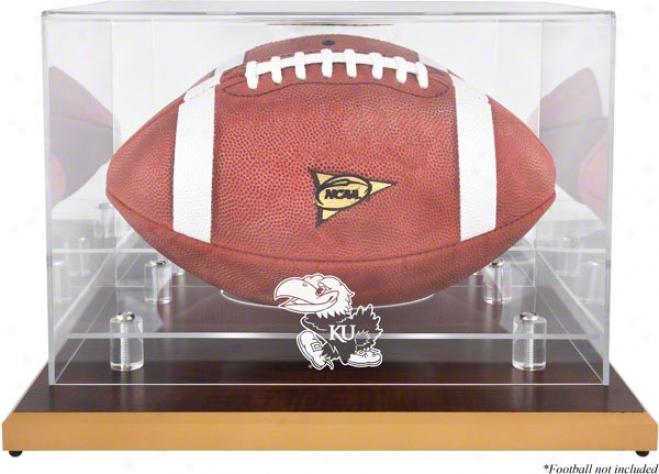 Kansas Jayhawks Wood Base Logo Football Display Case With Mirror Back