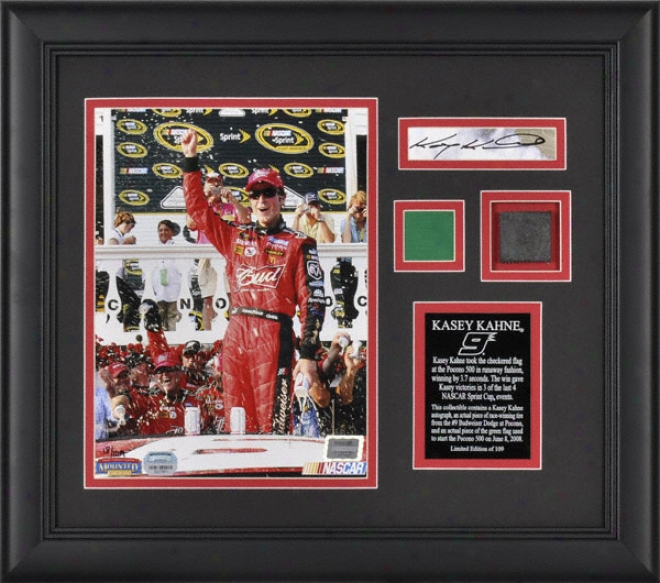Kasey Kahne - 2008 Pocono 500 - Framed 8x10 Photograph With Autographed Card, Race Used Ture And Flag Pieces