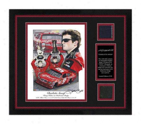 Kasey Kahne - Charlotte Sweep - Framed 8x10 Lithograph With Suit, Tire And Artist Signature