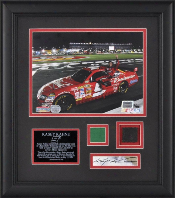 Kasey Kahne - Coca-cola 600 - Framed 8x10 Pnotograph Attending Autographed Card, Race Used Tire And Flag-stone Piece