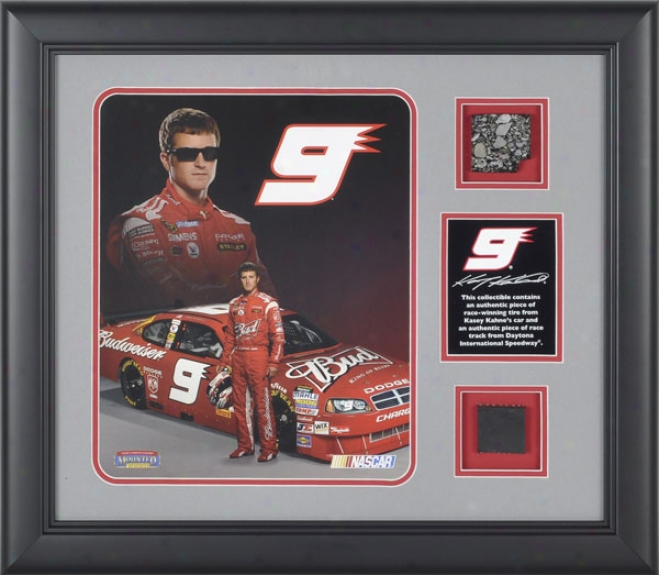 Kasey Kahne Framed 8x10 Photograph With Racce Used Tire, Dish And Daytona International Speedway Track