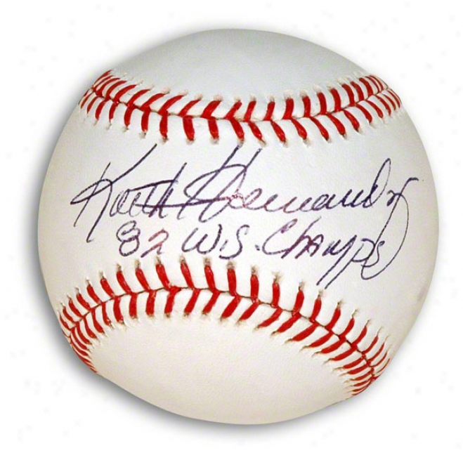 Keith Hernandez Autographed Mlb Baseball Inscribed &quot82 Ws Champs&quot