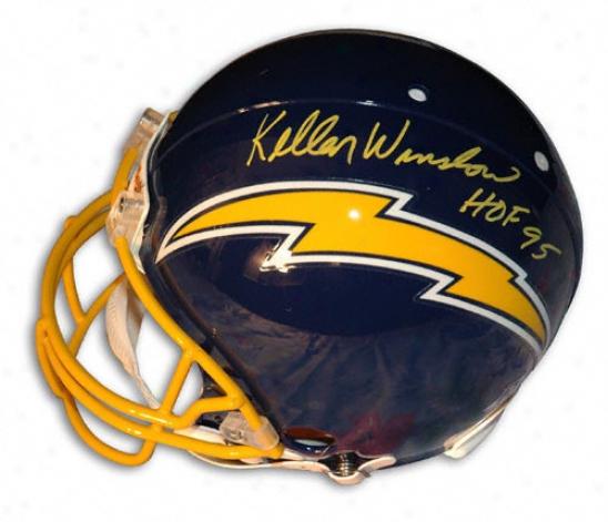 Kellen Winslow Autographed Pro-line Helmet  Details: San Deigo Chargers, With ''hof 95'' Inscription, Authentic Riddell Helmet