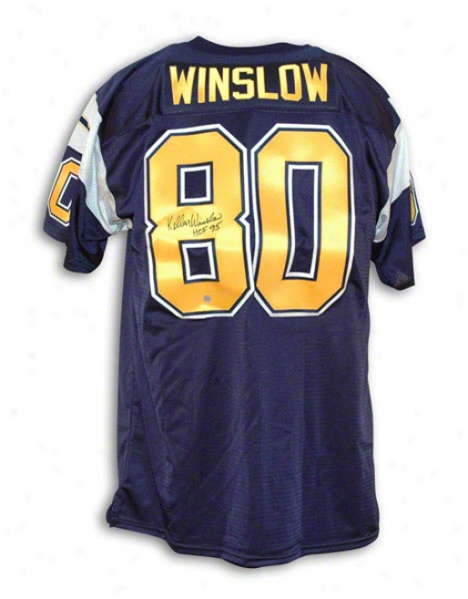 Kellen Winslow San Diego Chargers Autographed Navy Blue Throwback Jeraey