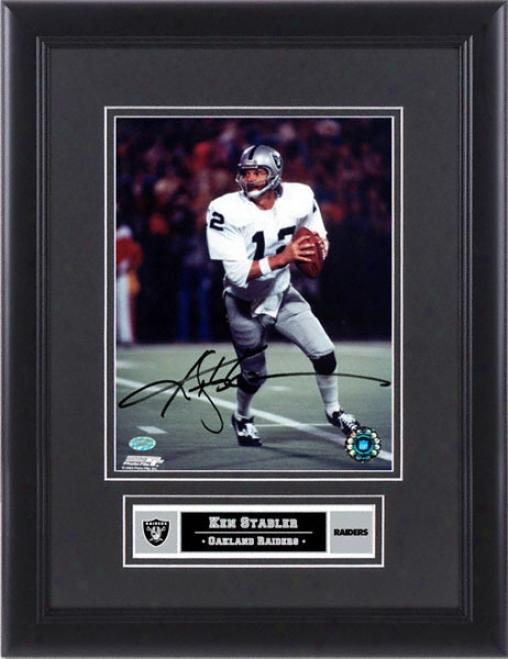 Ken Stabler Oakland Raiders Framed Autographed 8x10 Pbotograph